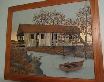 Vintage oil painting, H. Hargrove, Covered bridge oil painting, folk art, man fishing, boat in the water, Serigraph