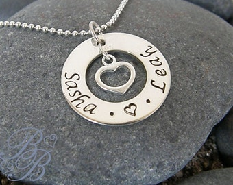 Mother's Necklace - Handstamped Jewelry - Personalized Jewelry