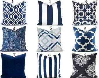 Pillow Covers ANY SIZE Decorative Pillow Cover Navy Blue Pillow Ikat Pillow Cover Navy Blue and White You Choose