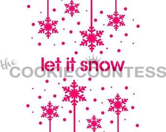Laissez-le neige Cookie pochoir, pochoir de biscuits de Noël, flocon de neige Fondant au pochoir, pochoir de Cookie de flocon de neige, flocon de neige au pochoir