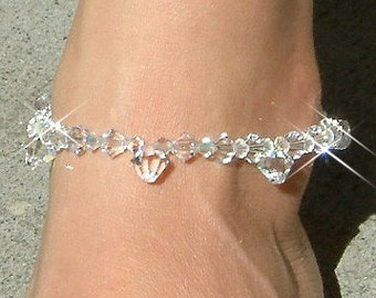 Dancing Bride  -Swarovski Crystal Drop Sterling Silver Anklet Bridal Foot Jewelry Sparkling Christmas Best Friends Birthday Gift New Cute