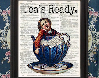 Weird Boy in Tea Cup TEA TIME - funny kitchen decor, unique home decor, gift for mom, Ephemera, weird stuff, Victorian, Unique gift for her