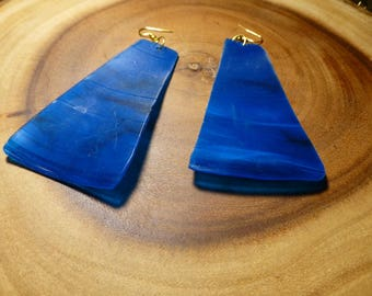 Blue Vinyl Record Earrings