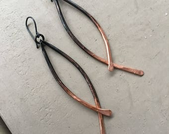 Copper Dangle Earrings Ombre Earrings Hammered Copper Jewelry Drop Earrings Rustic Jewelry Daniellerosebean Long Earrings Copper Earrings
