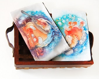 Howl's Moving Castle Calcifer Ponyo Zipper Bag