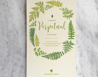 Perpetual Calendar, Fern Birthday Calendar, Wall Calendar for anniversaries & birthdays