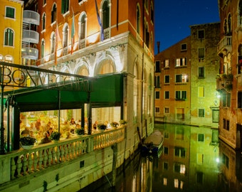 Venice Photograph, Italy Photography Venetian Cafe Canal Night Print Restaurant Gondola Wall Art Home Decor ven26
