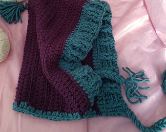 Purple and teal pixie hood