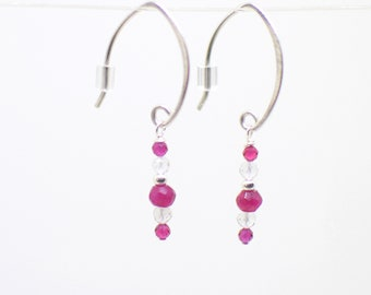 Ruby, Topaz and Sterling Silver Threader Earrings