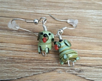 Cute Glass Dog Earrings