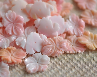 10pcs Pink Queen Conch Shell Flower Carved Cabochon 25/ 30mm, Center Drilled Soft Candy Color (#V1266)