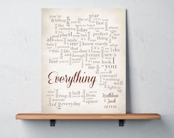 1st Paper Anniversary Gift for husband wife - Song Lyrics - Everything by Michael Bublé - Personalized names, date pick colors verse print