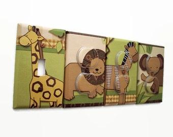 Jungle Light Switch Cover - Safari Animals Outlet Covers - Baby Cocoa Nursery Decor - Boys Nursery Decor - Elephant Lion Giraffe Baby Room