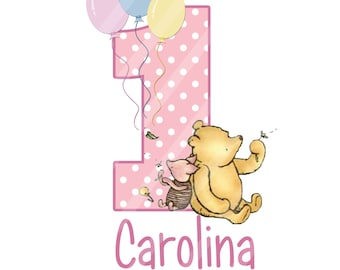 Classic Winnie the Pooh Baby's Birthday Personalized Digital Download iron-ons, heat transfer, Scrapbooking, Cards, Totes, DIY, YOU PRINT