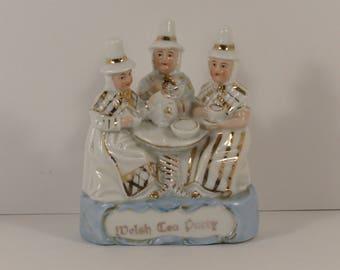 Vintage Welsh Tea Party German Porcelain Fairing Figurine.