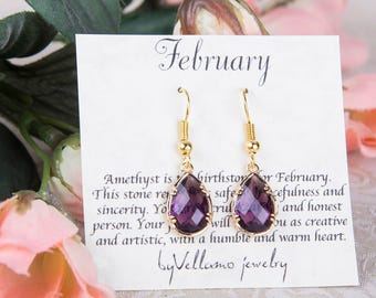 February Amethyst Birthstone Earrings, Gold Teardrop Earrings Purple Gold Earrings February Birthstone Jewelry Bridesmaid Gold Earrings