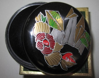 Vintage Pill Box in Black with Flowers/Towers by Sarsaparilla ~ Style # 3 Black