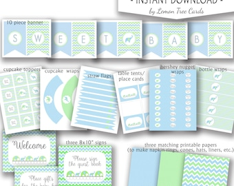 Blue Green Elephant Baby Shower party package, printable boy baby shower decor, banner cupcake toppers wraps straw flags bottle wraps