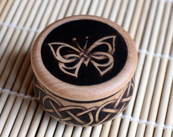 Wooden jar wih lid and Celtic butterfly ornament/little wooden pot with lid and burned Celtic design/ hand turned box for small objects