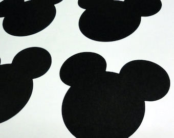 """5"""" Mickey Mouse Head Silhouettes Black Cutouts Die Cut Paper Crafting Scrapbooking Card Making Supplies"""