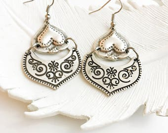 Tribal Dangle Earrings - Belly Dance Jewelry - Gypsy Earrings - Boho Jewelry - Silver Heart Drop Earrings