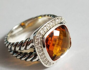 DAVID YURMAN Albion WITH 11 mm Citrine and Pave Diamonds Ring Size 5 Old Version