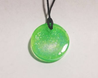 Glitters of Green resin pendant necklace