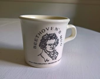Vintage Beethoven's Mug Philadelphia Orchestra Collectible --- Retro Classical Music Composer Maestro Kitchen Coffee Tea Cup --- Quirky Home