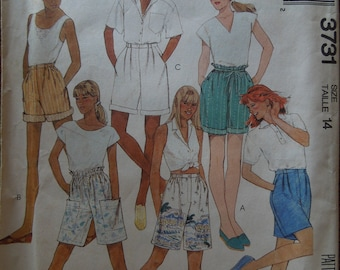 McCalls 3731, size 14, pull on shorts, UNCUT sewing pattern, craft supplies