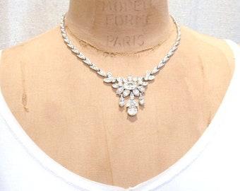 1940s ORA Clear Rhinestone Bridal Necklace, Art Deco Vintage Wedding Pave Crystal Silver Link Statement Pendant Bib Gatsby Designer Princess