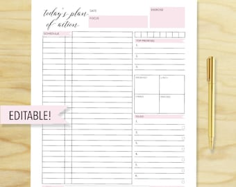 daily planner printable daily organizer printable planner pages printable organizer pdf daily to do list daily planner 2015 custom planner