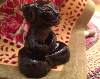 Buddha DOG Sculpture Meditation Yoga Zen Puppy Lab Retriever Goth Animal Healing Haunted Black Silver Handmade Art Rose Custom Color Gift