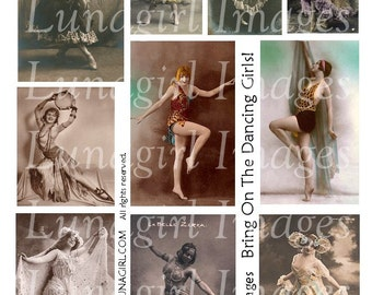 DANCING GIRLS digital collage sheet, vintage photos Showgirls risque dancers women flappers, Cabaret Costumes, altered art ephemera DOWNLOAD
