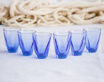 Dark blue glasses_shot drink glasses_set of six_electric sapphire blue_small sturdy glasses_retro vintage barware_vodka cognac whiskey