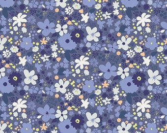 Vintage Rush Blue - Chic Flora Collection by AGF Studio - Art Gallery Fabrics - Premium Cotton Quilting Fabric - One Yard