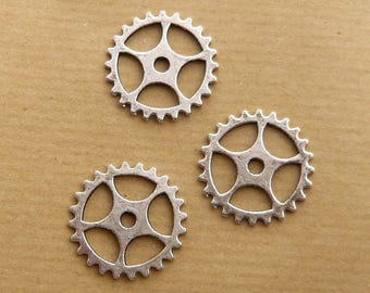 LOT 3 25mm silver steampunk gear