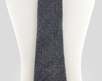 Silk and wool Necktie Silver grey and black tweed Refined and elegant, Made to order from vintage mid century English fabric