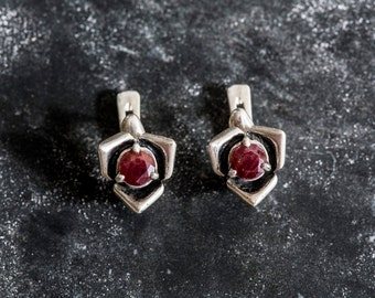 Red Rose Earrings, Real Ruby Earrings, Flower Earrings, Natural Ruby, Vintage Ruby Earrings, July Earrings, July Birthstone, Rose Earrings