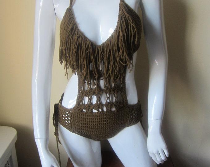 Crochet monokini, fringe monokini, HAZELNUT crochet swimwear, crochet bikinis, Fringe swimwear, Fringe swimsuits, Fringe bathing suits,