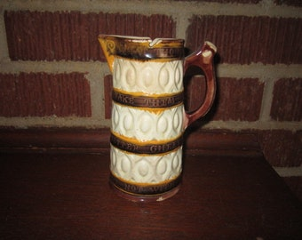 Antique Victorian Wedgwood Pottery Syrup Jug with Motto as found