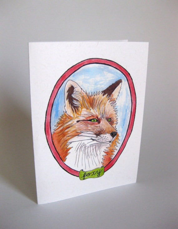 """Valentine's Day/I Love You/Anniversary """"Foxy"""" Fox Card - Handmade and printed from original ink and gouache illustration"""