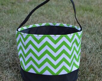 Personalized Halloween Trick or Treat Bucket-Green Chevron