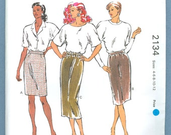 1991 Misses' Slim Skirts For Woven and Firm Knit Fabric Uncut Factory Fold Size 4,6,8,10,12 - Vintage Kwik Sew Sewing Pattern 2134