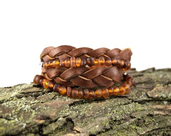 Raw Amber and Leather Wrap Bracelet in Copper - Unpolished Amber Bracelet - Braided Leather Bracelet - Baltic Amber Jewelry - Natural Amber