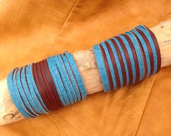 Two-tone leather cuff bracelets