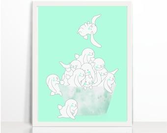 Bunnies, Rabbits, Black and White, Bunny Print, Nursery Art, Nursery, Art Printable, Wall Decor, Nursery Printables, Kids wall Art, Animal