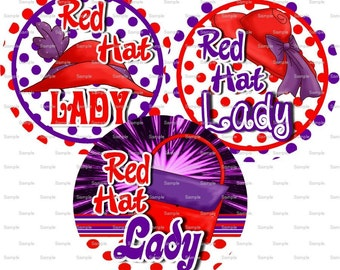 Red Hat Lady (2) Bottle Cap Images 4x6 Bottlecap Collage Scrapbooking Jewelry Hairbow Center