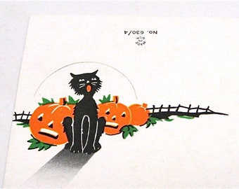 Halloween Die-Cut Place Card, Pumpkins and Black Cat, Antique, Ephemera, Table Setting, Vintage, Holiday, Card, Decoration, Retro, c1950