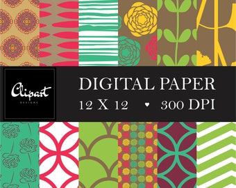 Digital Paper  - Pink, Green, BROWN, Scrapbooking and Digital Craft - Personal Commercial