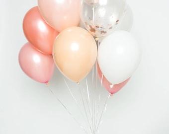 Confetti ballon ensemble - Prosecco - Blush, rose, Or Rose, blanc, Chrome argent et confettis ballon Bouqet - ballons Party Chic